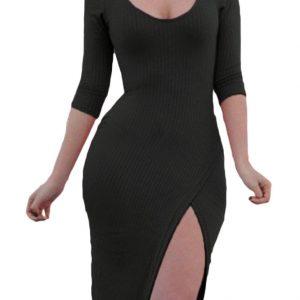 inasari-pullover-scoop-neck-34-sleeve-side-slit-midi-dress-s2ca028-2-1