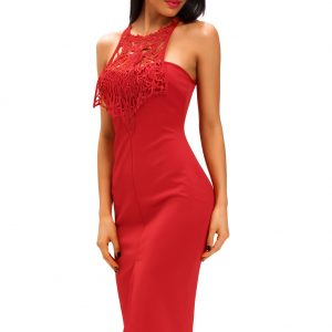 inasari Elegant Front Slit Dress With Embroidery s2od011-3 -4