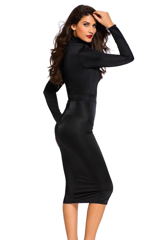 Long Sleeve Cut Out Waist Midi Dress Inasari