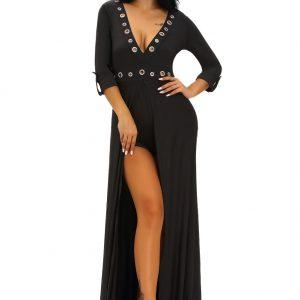 06f829e62f0 Home   Dresses   Maxi Dress   V Neck Sleeved Romper Maxi Dress