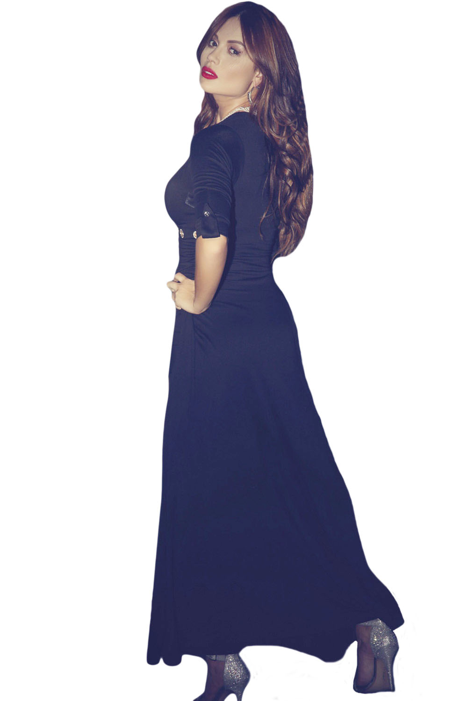 e2b63b3ad1e inasari-v-neck-sleeved-romper-maxi-dress-s2md023-
