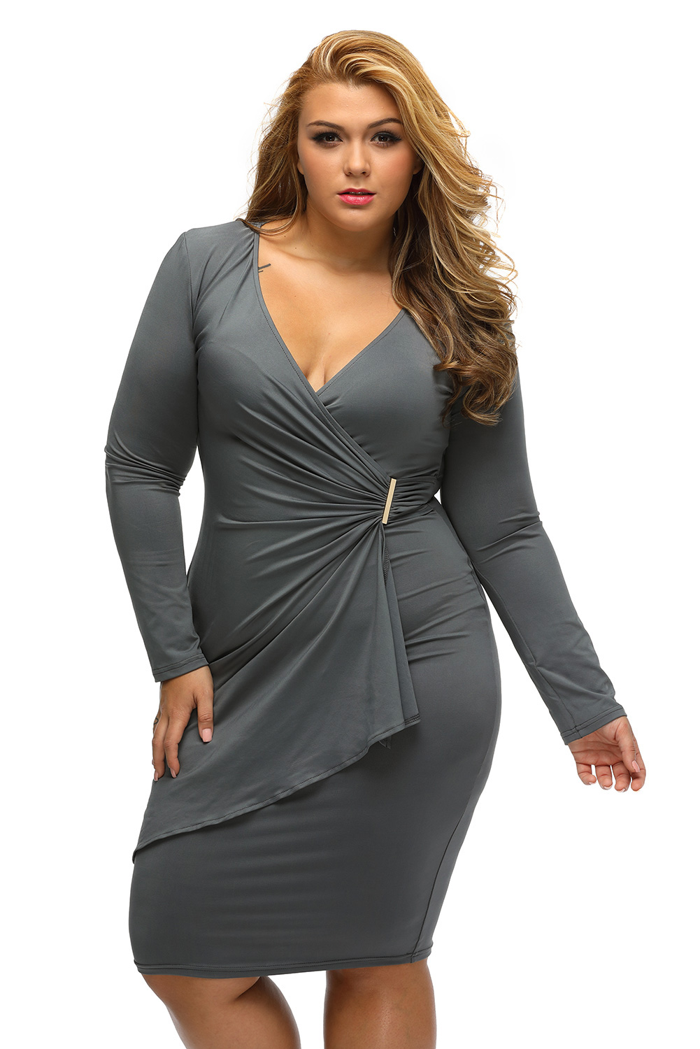 939fcbfc19b7 inasari woman online store – Asymmetric Long Sleeve Wrap Dress S2PSD0127-11  -3