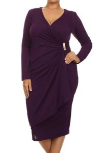 inasari woman online store – Asymmetric Long Sleeve Wrap Dress S2PSD0127-8 -7