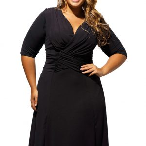 inasari woman online store – Half Sleeve Ruched Plus Size Dress S2PSD007-2 -1