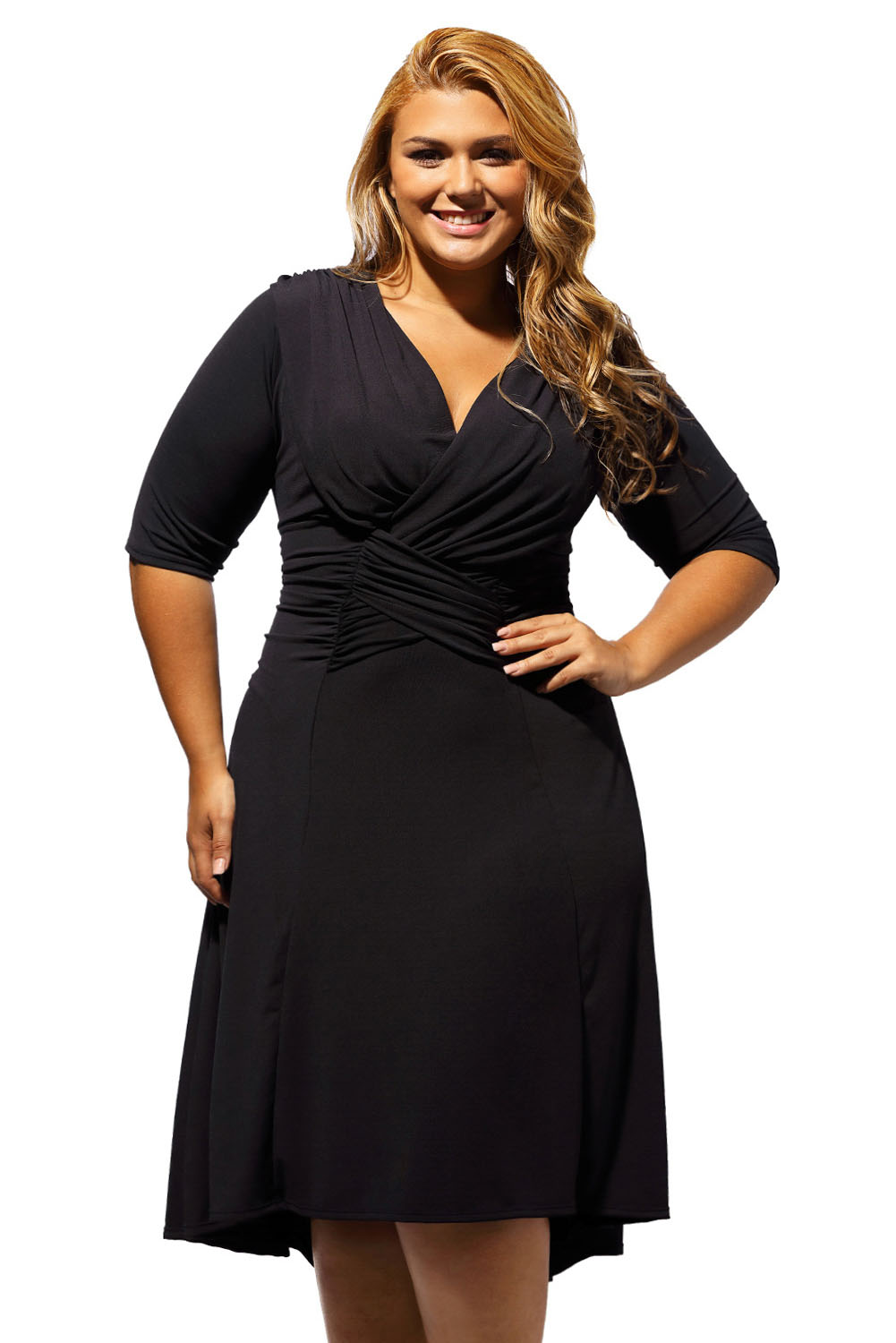Half Sleeve Ruched Plus Size Dress Inasari