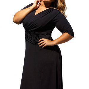 inasari woman online store – Half Sleeve Ruched Plus Size Dress S2PSD007-2 -2