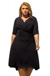 inasari woman online store – Half Sleeve Ruched Plus Size Dress S2PSD007-2 -3