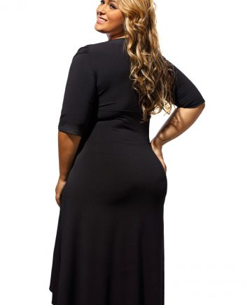 inasari woman online store – Half Sleeve Ruched Plus Size Dress S2PSD007-2 -4