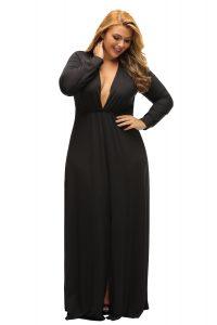 inasari woman online store – Long Sleeve Deep V-neck Plus Size Long Slit Dress S2PSD0119-2 -1