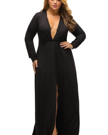 inasari woman online store – Long Sleeve Deep V-neck Plus Size Long Slit Dress S2PSD0119-2 -2