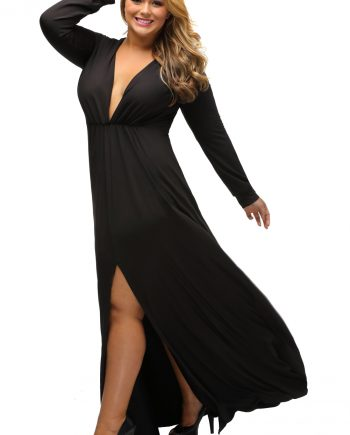 inasari woman online store – Long Sleeve Deep V-neck Plus Size Long Slit Dress S2PSD0119-2 -3