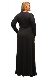 inasari woman online store – Long Sleeve Deep V-neck Plus Size Long Slit Dress S2PSD0119-2 -4