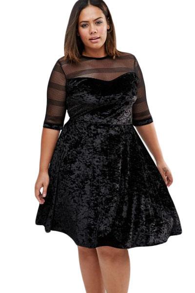 b177fd626925 inasari woman online store – Mesh Velvet Plus Size Swing Dress S2PSD013-2 -1