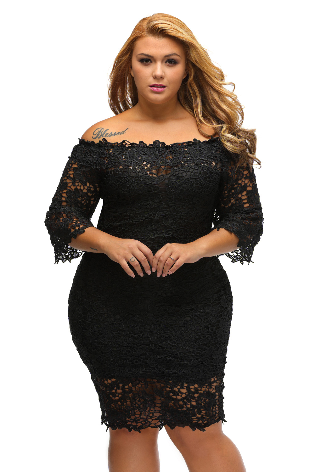 Off Shoulder Floral Lace Plus Size Dress Inasari