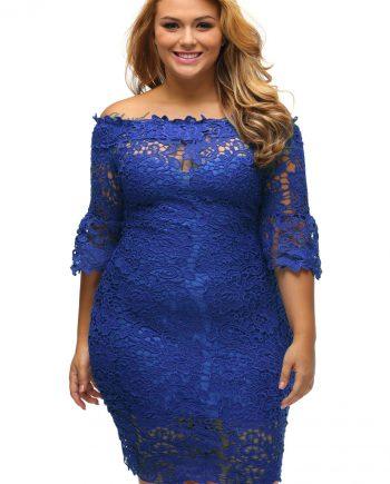 inasari woman online store – Off Shoulder Floral Lace Plus Size Dress S2PSD004-5 -1