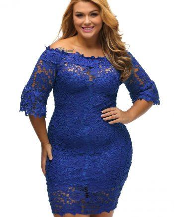 inasari woman online store – Off Shoulder Floral Lace Plus Size Dress S2PSD004-5 -2