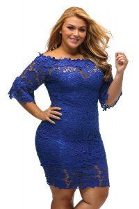 inasari woman online store – Off Shoulder Floral Lace Plus Size Dress S2PSD004-5 -3