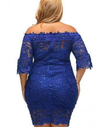 inasari woman online store – Off Shoulder Floral Lace Plus Size Dress S2PSD004-5 -4