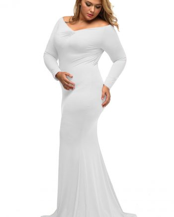 inasari woman online store – Off-shoulder V Neck Plus Size Long Dress S2PSD014-1 -2