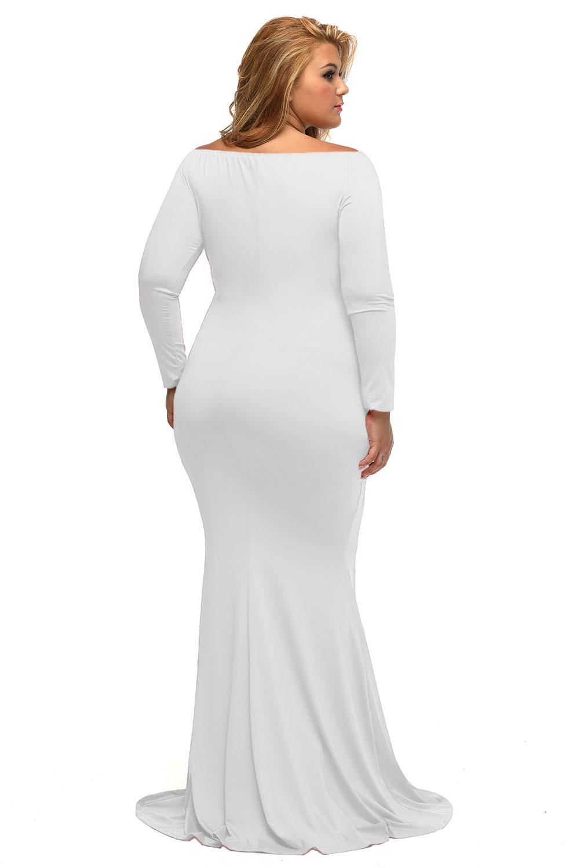 Plus Size Off The Shoulder White Maxi Dress | RLDM