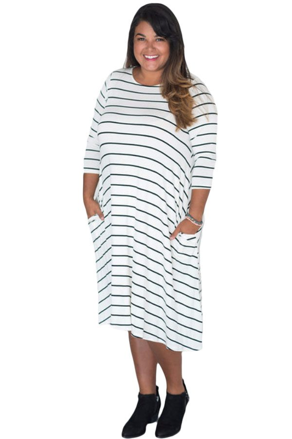 Plus Size Black White 3/4 Sleeves Stripes Loose Fit Dress – inasari
