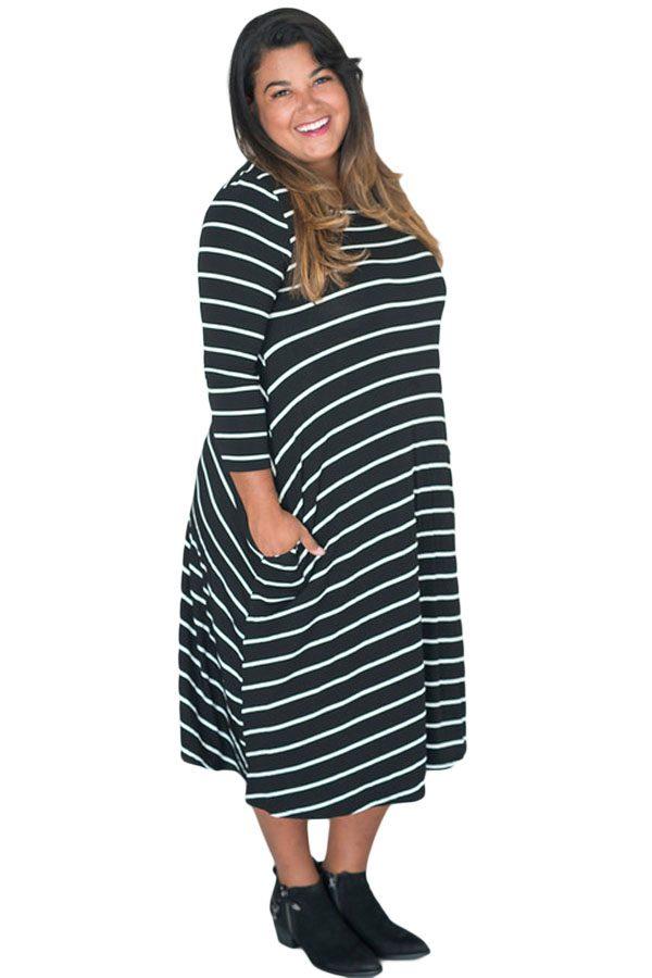 Plus Size Black White 3/4 Sleeves Stripes Loose Fit Dress