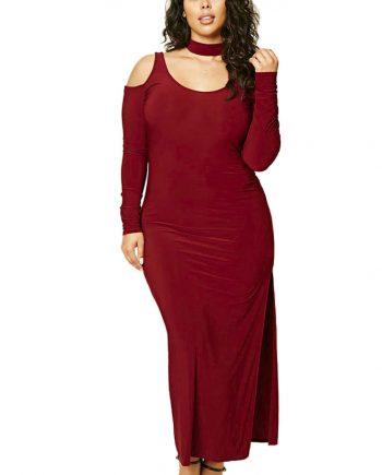 inasari woman online store – Plus Size Cold Shoulder Choker Neck Dress S2PSD003-3 -1