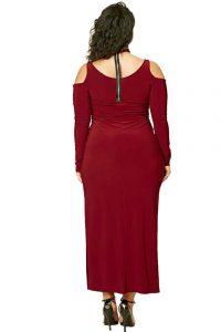 inasari woman online store – Plus Size Cold Shoulder Choker Neck Dress S2PSD003-3 -3