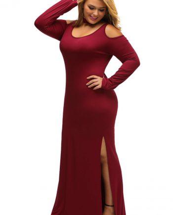 inasari woman online store – Plus Size Cold Shoulder Choker Neck Dress S2PSD003-3 -5
