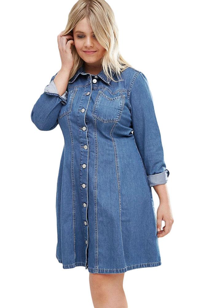 Plus Size Denim Shirt Dress Inasari