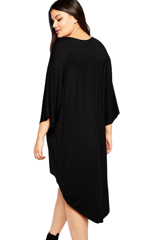 Plus Size Dipped Hem Kimono Sleeve High Low Dress