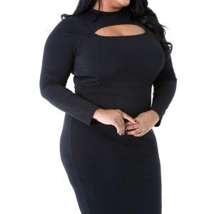 Plus Size Long Sleeve Front Keyhole Cutout Bodycon Dress