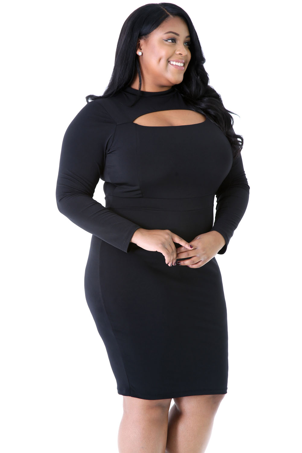 Plus Size Long Sleeve Front Keyhole Cutout Bodycon Dress