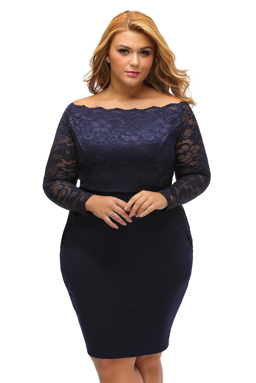 f2608e678e8e inasari woman online store – Plus Size Off Shoulder Lace Dress S2PSD0138-5 - 1