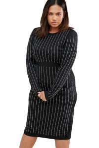 inasari woman online store – Plus Size Rhinestone Stripes Long Sleeve Dress S2PSD010-3-1