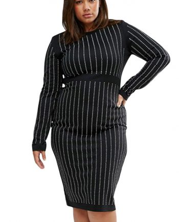 inasari woman online store – Plus Size Rhinestone Stripes Long Sleeve Dress S2PSD010-3-2