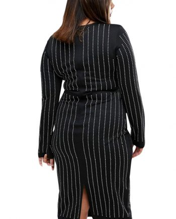inasari woman online store – Plus Size Rhinestone Stripes Long Sleeve Dress S2PSD010-3-3
