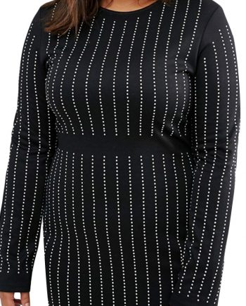 inasari woman online store – Plus Size Rhinestone Stripes Long Sleeve Dress S2PSD010-3-4