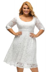 inasari woman online store – Round Neckline Floral Lace Plus Size Dress S2PSD008-1 -1