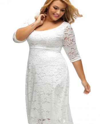 inasari woman online store – Round Neckline Floral Lace Plus Size Dress S2PSD008-1 -3