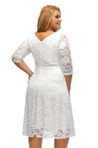 inasari woman online store – Round Neckline Floral Lace Plus Size Dress S2PSD008-1 -4