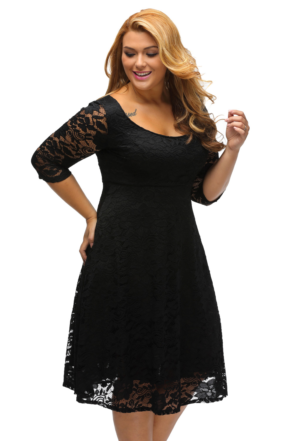 Round Neckline Floral Lace Plus Size Dress Inasari