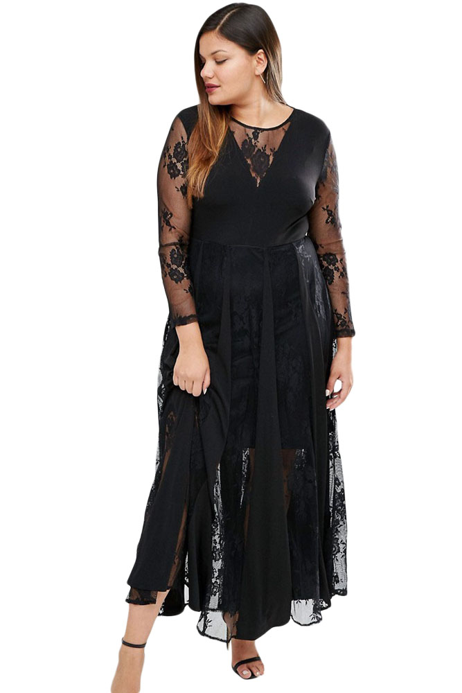 Sheer Long Sleeve Pleated Plus Size Maxi Dress – inasari