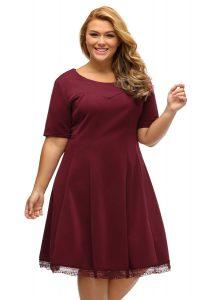 inasari woman online store – Short Sleeve Lace Hemline Plus Size Skater Dress S2PSD006-3 -1