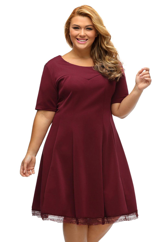77e68087431d inasari woman online store – Short Sleeve Lace Hemline Plus Size Skater  Dress S2PSD006-3