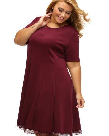 inasari woman online store – Short Sleeve Lace Hemline Plus Size Skater Dress S2PSD006-3 -4
