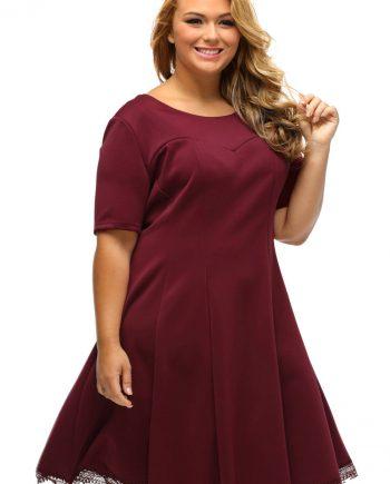 inasari woman online store – Short Sleeve Lace Hemline Plus Size Skater Dress S2PSD006-3 -5