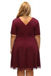 inasari woman online store – Short Sleeve Lace Hemline Plus Size Skater Dress S2PSD006-3 -6