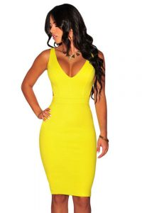 inasari-sexy-deep-v-neck-yellow-bodycon-dress-s2cl038-2-1