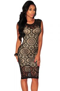 inasari Lace Illusion Midi Dress s2od007-2 -1